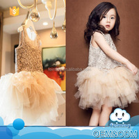 Summer clothes 2016 latest designs champagne kid tutu dance style fancy high quality flower baby girls party night dress design