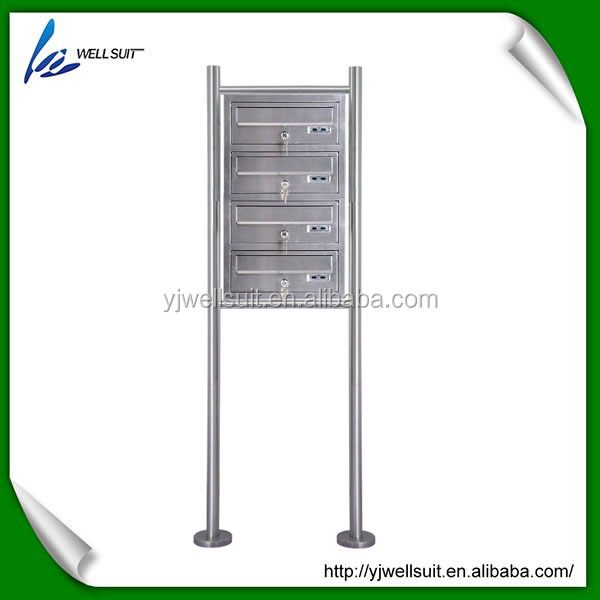 4 layer outdoor stainless steel free standing mailbox letterbox postbox newspaper holder with house number