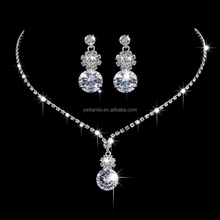 Free Ship Fashion Bridal Jewelry Zirconia Crystal Wedding Necklace Earring Set Chain