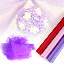 48CM Width Organza Tulle Roll Silk Flower Arches Sheer Crystal Organza Fabric Door Wedding Birthday Party Decoration