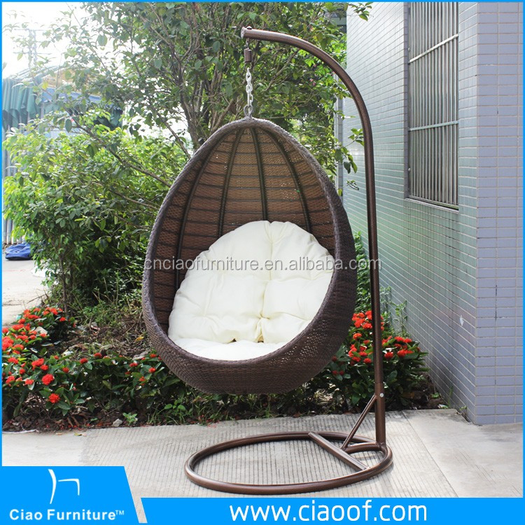 Latest Design Rattan Indoor Swing Chair With Stand