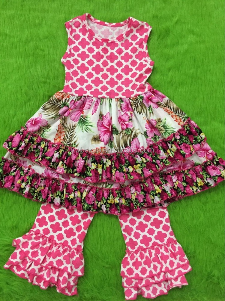 0-12 years old girls outfits boutique ruffle clothing sets wholesale price floral tutu dress and ruffle pant outfits
