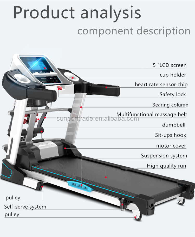 Newest SP-001 low noise treadmill sport treadmill running machine with sit up exercise equipment for sale