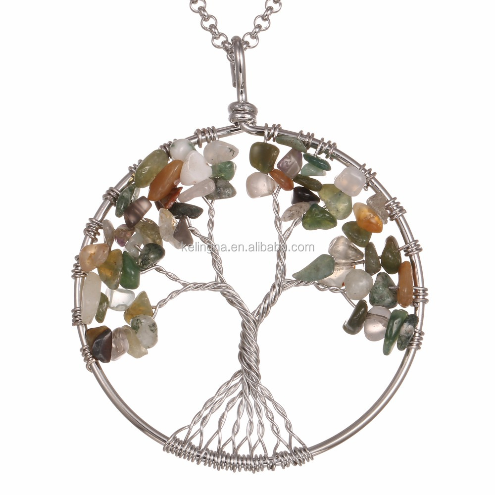 Fashion Handmade India Agate Healing Gemstone Beads Pendant Tree Of Life Jewelry Natural Jewelry