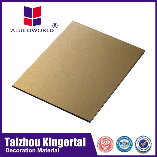Alucoworld protective film interior ceiling golden color plastic aluminum composite panel