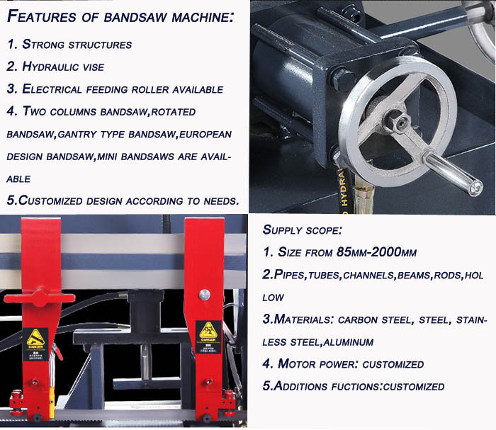 Horizontal 45 Degree 60 Degree 90 Degree Angle Miter Cnc Band Saw Machine For Cutting Metal