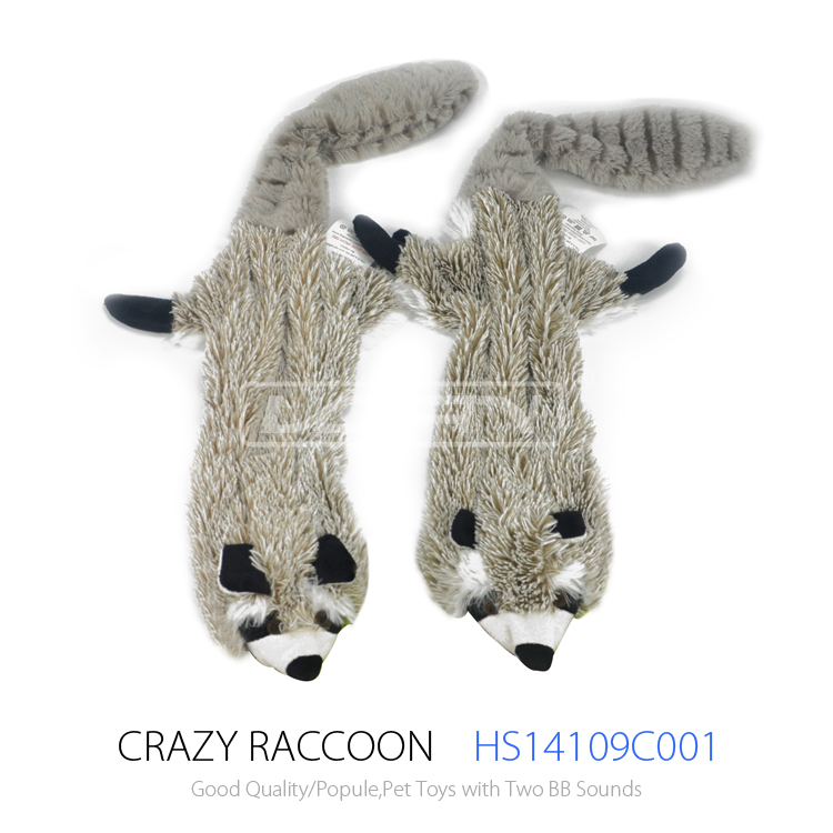 Plush Flat Dog Toy - Unstuffed Raccoon With 2 Squeaker