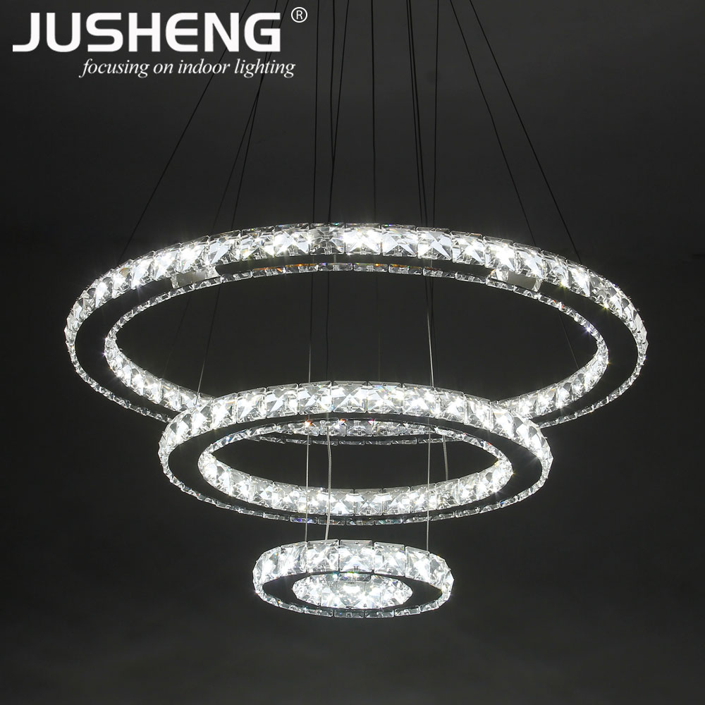 2018 Luxury <strong>Modern</strong> LED Circle Round Crystal Chandelier Pendant Light For Home Restaurant 3 Rings Hanging Lights