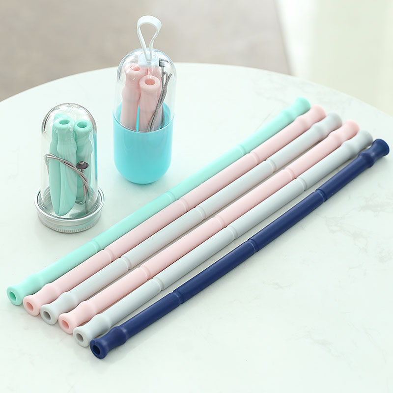 2019 Trending Amazon Hot Fancy Big Double Juice Organic Folding Reusable Silicone Drinking Straw