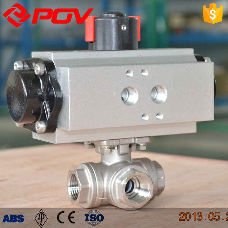 high quality SS316 flange connection 3 ways pneumatic ball valve