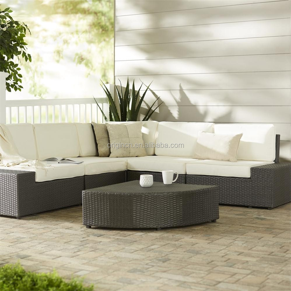 Armless unique dooryard used L shaped corner furniture set outdoor rattan modular sectional sofa