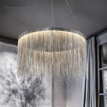 Postmodern Aluminum chain tassel round LED pendant lamp size can be customized