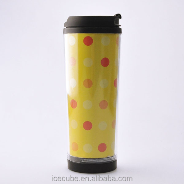 customized photo insert travel mug with plastic lid
