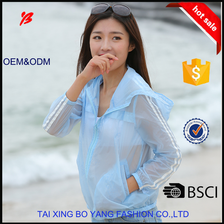 boyang fashion women summer transparent sunproof skin clothing with hood