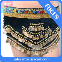 belly dance hip scarf coins