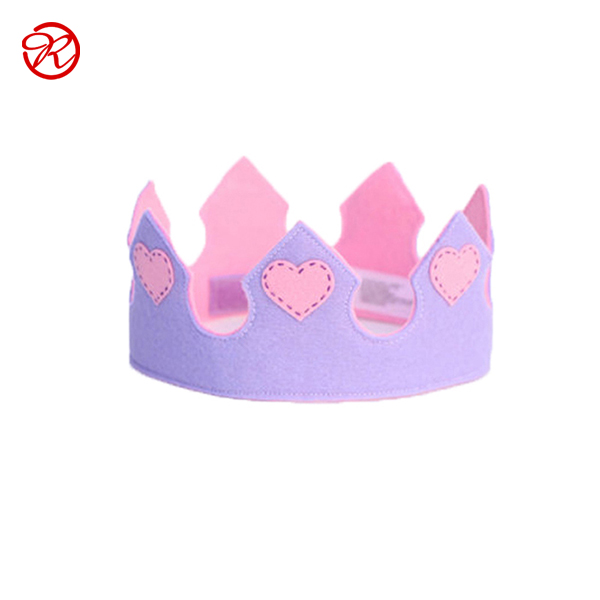 2019 new design customized princess felt <strong>crown</strong> for girls