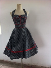 Walson VINTAGE 1950'S ROCKABILLY Polka Dot POLKADOT PIN UP FORMAL SWING PROM DRESS
