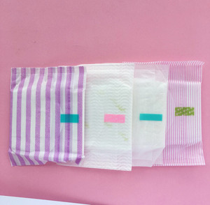 FDA approved winged type blue core disposable cotton sanitary napkins