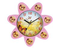 flower shape plastic photo frame wall clock