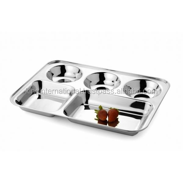 stainless steel 5 compartment thali ,Plate ,Dinner Tray