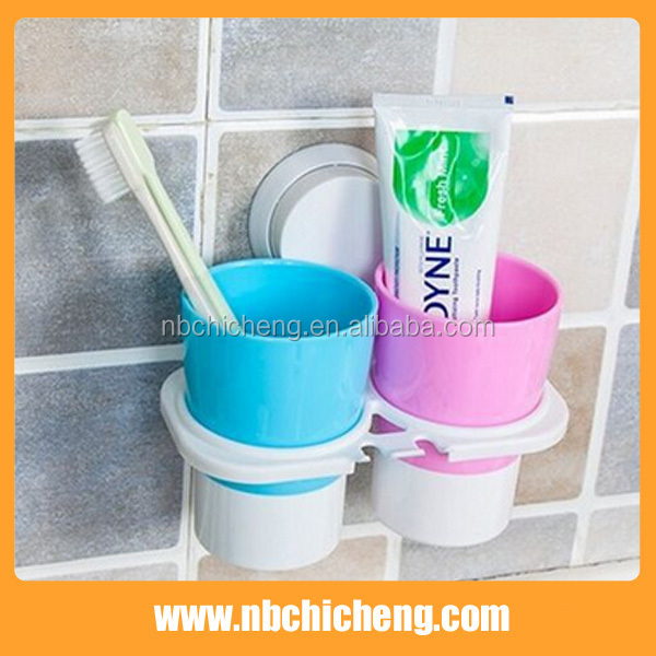 Plastic Bathroom Wall Mounted Toothbrush Cup