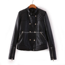 2017hot sales windproof black pu leather jacket for women