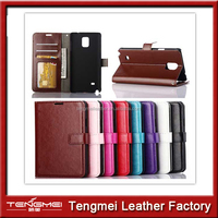 For Samsung note4 case 2014 Newest oil wax grain Wallet Stand Design Leather Luxury Flip Credit Card Cover