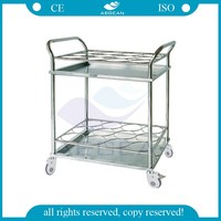AG-SS021A CE&ISO stainless steel bottle hospital trolley for sale