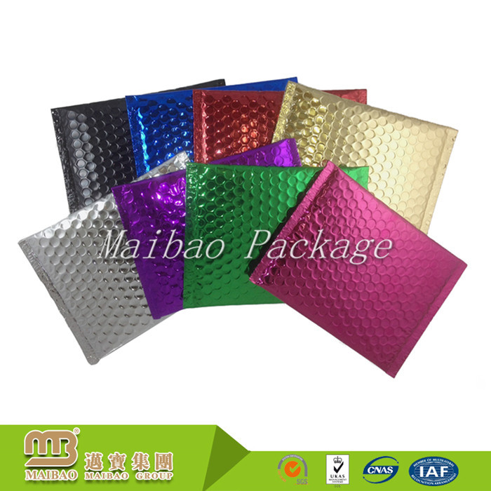 Shock-Proof Strong Adhesive Glue Custom Print Shiny / Matt Metallic Aluminum Foil Air Bubble Gold Envelope