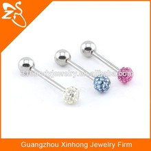 TR01003 steel crystal personalized tongue rings