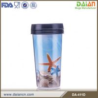 Custom double wall plastic travel mug with photo insert