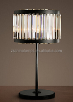 chandelier black round base modern crystal table lamp for interior decoration