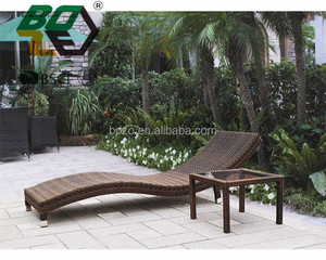 BOZE Outdoor Rattan Wicker S shape Chaise Lounge Chair with side table