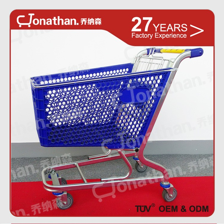 100L Popular unfolding retail plastic shopping trolley with wheels