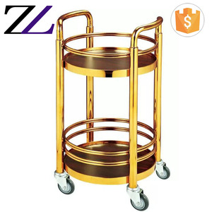 Hotel supply items cheap price hotel food liquor service gold solid wood tea cake wine trolley