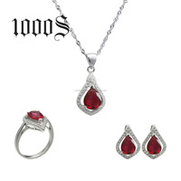 Colored Rhinestone 925 Sterling Silver Jewelry Set Factory in China High Quality