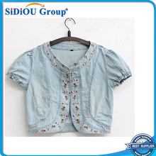 light blue embroidered women short sleeve denim jacket