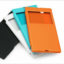 Window visual leather flip case for sony xperia z1\ case new product for China cell phone accessories