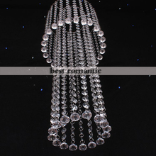 Fancy crystal arcylic spiral hanging wedding centerpiece chandelier