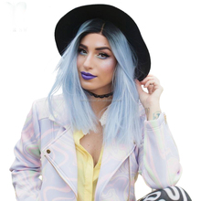 "14"" Black/Pastel blue Bob Style Synthetic Lace Front Wig nature cheap trendy short hair wig with wefted back for women"