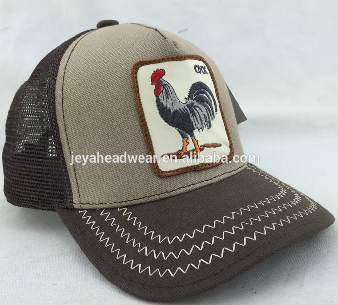 Front khaki fused buckram 5 panel trucker hat applique cock structured Mesh Trucker hat