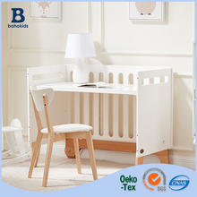 Wholesale white Russian import poplar wood height adjustable baby crib with wheels