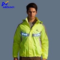 All viz led reflective lighting up jacket for cyclist runner