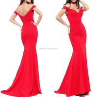 Beautiful Woman Gowns Red Off the Shoulder Mermaid Evening Dress Long for Women Formal Gown