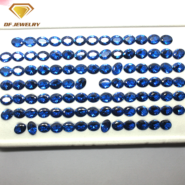 Machine Cut 113# Blue Gemstone Synthetic Oval Spinel