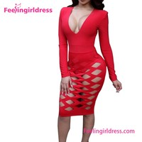 Long Sleeve Women Dress Fashion Cheap Sexy Adult Red Jumpsuit