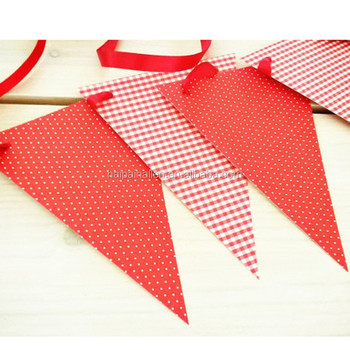 Red and White Printable Polka Dot Banner Pennant Flag for Christmas decoration