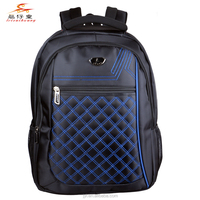 2015 Embroidery Honeycomb Plaid Nylon Soft Laptop Bag 19 inch College Backpack