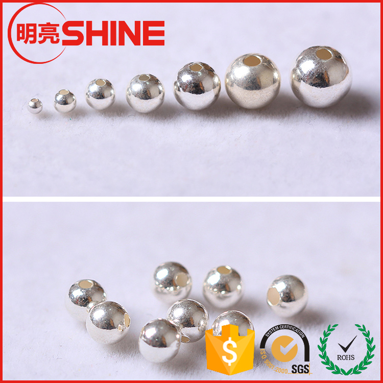 wholesale low price silver plated 5mm stainless steel metal loose beads