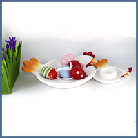 Christmas decoration supplies novel ceramic craft chicken shape plate